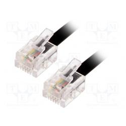 kábel telefónny RJ11 vidlica z oboch strán , čierny 5m