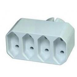 zásuvka rozbočovacia biela 4x P0014