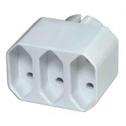 zásuvka rozbočovacia biela 3x P0013